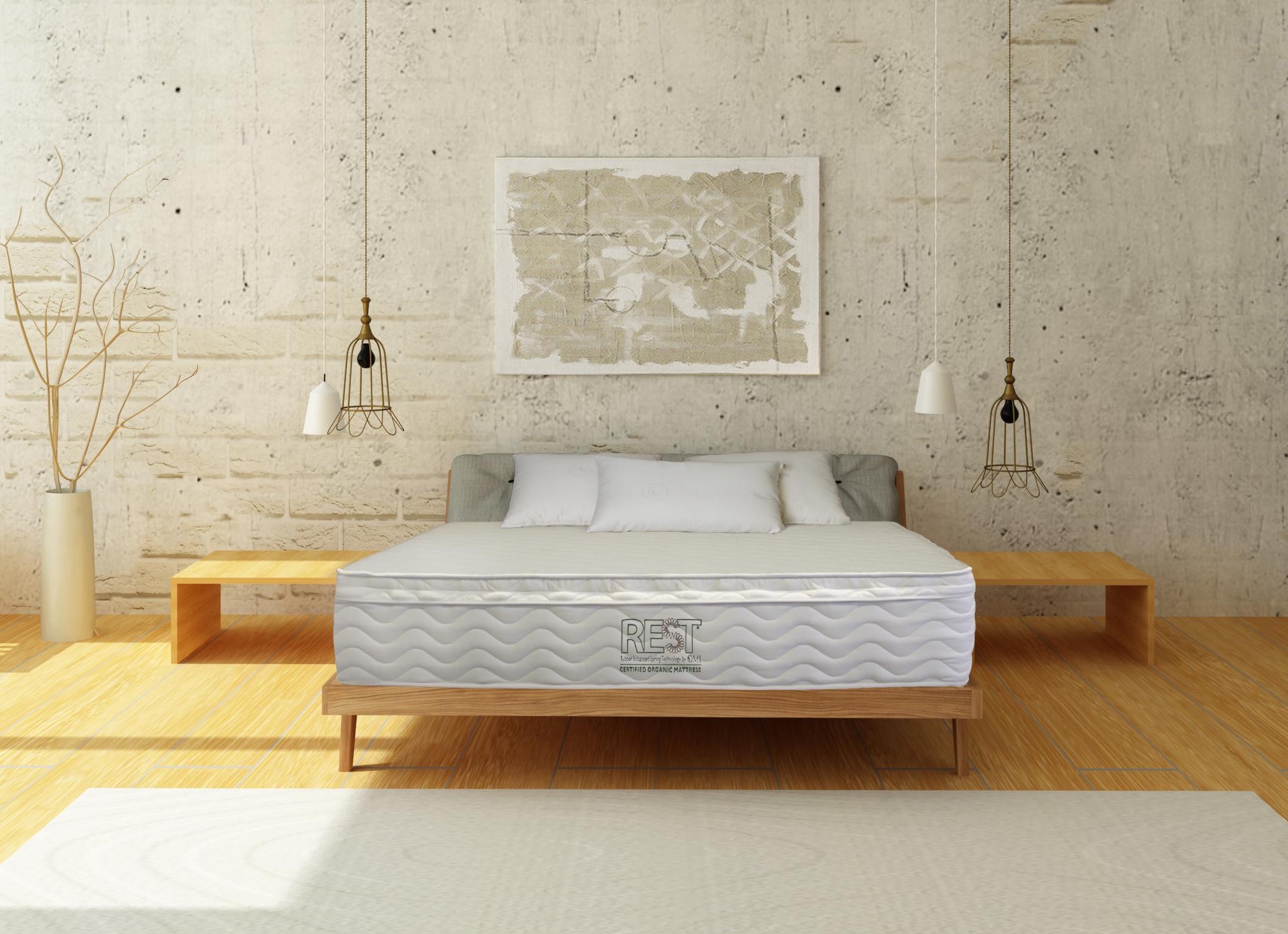 cozy interior of bedroom in scandinavian style